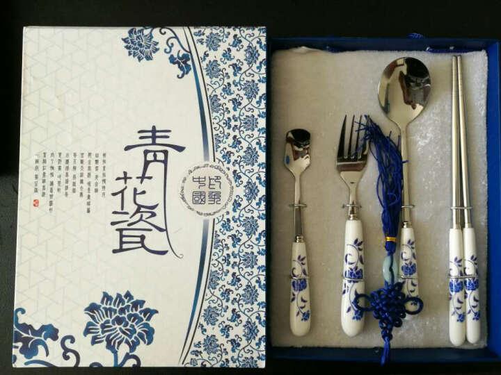 餐具套装筷子勺子青花瓷中国特色礼品送老外事礼品 创意生日礼物 青花4件套-刀叉 晒单图