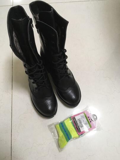 华洛威秋冬新款韩版真皮女靴时尚短靴厚底粗跟马丁靴中筒布洛克机车骑士女靴子 灰色单里 36 晒单图