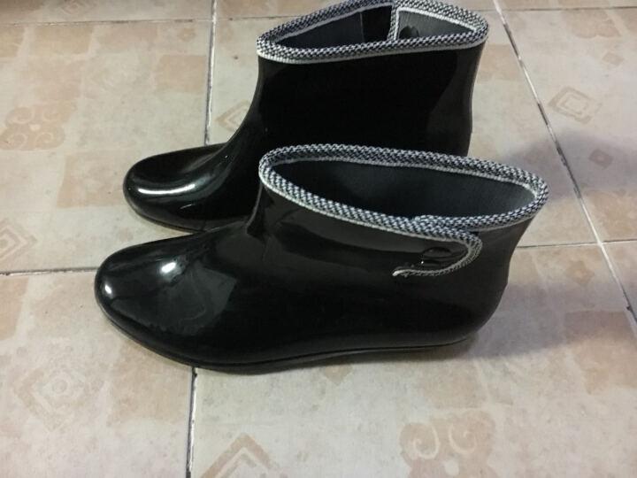 女款雨鞋短筒女马丁雨靴防滑水鞋女生雨靴水靴套鞋胶鞋女中筒春夏 黑色-标准码 39 晒单图