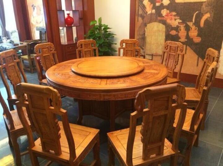 蒋木匠 餐桌椅组合 实木餐桌 花梨木餐桌 中式圆餐桌 吃饭桌椅套装 转盘多功能 象头 3.2米餐桌+18张椅子带电动转盘 晒单图