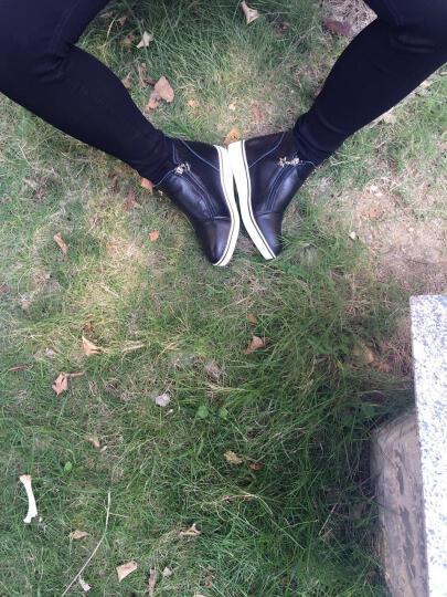 睡米2018春夏皮女鞋内增高厚底休闲鞋松糕鞋韩版百搭高帮鞋AM890-1 白绿网面 37标准鞋码 晒单图