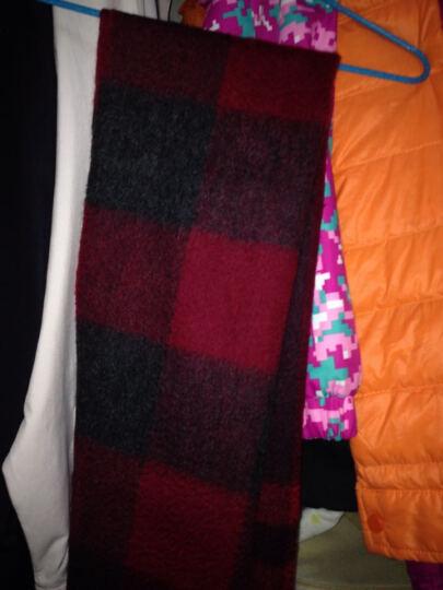 恒源祥羊毛围巾女士大披肩两用冬天格子情侣围脖加厚秋冬季 04#黑藏兰 180*30 cm 晒单图