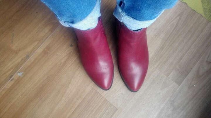 PTSON/百田森切尔西靴冬季新款尖头粗跟中跟短筒时尚牛皮短靴女 酒红色 35 晒单图