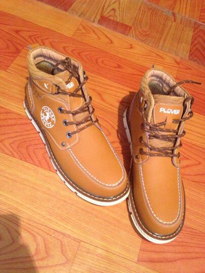 PLOVER秋冬新款休闲鞋韩版马丁靴运动休闲鞋男皮靴 棕色A12132 41 晒单图