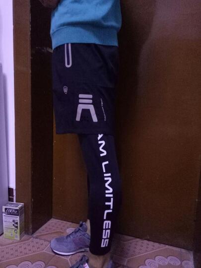 雷魅运动裤男加绒长裤紧身裤假两件马拉松健身跑步短裤速干篮球长裤leimei13 黑反光-冬款加绒 M 晒单图