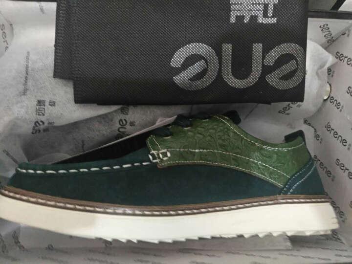 西瑞休闲鞋男板鞋低帮透气帆布鞋鳄鱼纹皮单鞋春季 墨绿色加毛 41 晒单图