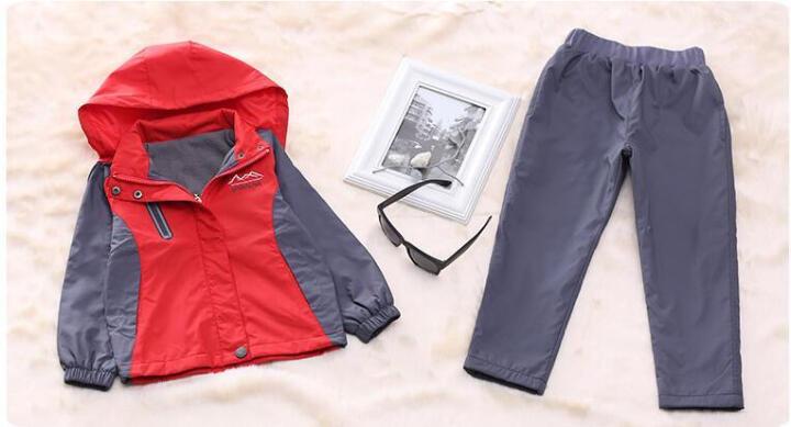 小儿郎童装冬季新款儿童冲锋衣套装两件套中大童男童风衣外套加绒加厚女童冬装户外登山服 黄色 160 晒单图