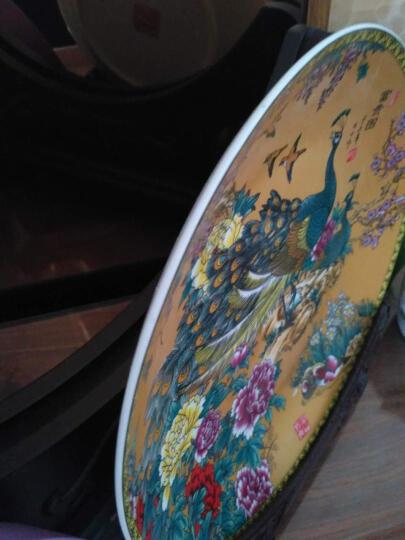 领格(LINGGE) 景德镇陶瓷器  挂盘 装饰盘居家 家居摆设饰品 摆件装饰盘 工艺品 金色双凤图 小号宽约25厘米 晒单图
