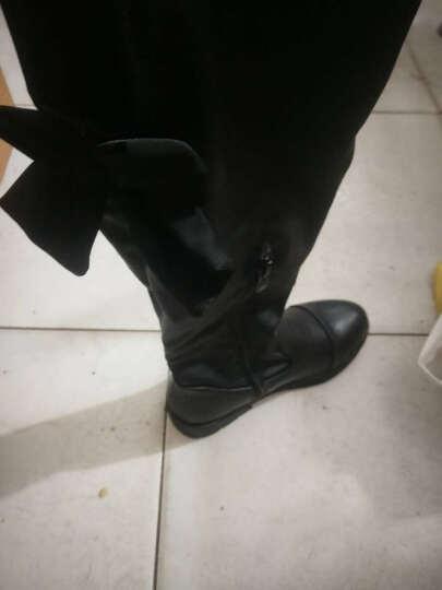 秋冬季新款儿童女童鞋长靴高筒加绒过膝棉靴蝴蝶结黑色公主 黑色 26码内长16.3cm 晒单图