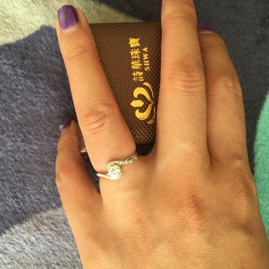 诗华珠宝白18K金豪华群镶钻戒 求婚订婚结婚钻戒 1克拉真钻石戒指 时尚扭臂钻戒 戒指女  专柜正品 30分钻石 15+15分 IJ色SI 现货闪发 晒单图