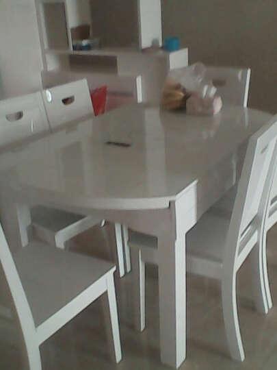 极美世家 钢化玻璃餐桌 伸缩实木餐桌椅 客厅电磁炉火锅餐桌椅组合 黑玻不带电磁炉餐桌 一桌六椅(黑白实木椅) 晒单图