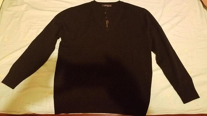 鳄鱼恤男士100%山羊绒针织V领打底毛衣男基础款纯羊绒衫 黑色 175/92A(110cm) 晒单图