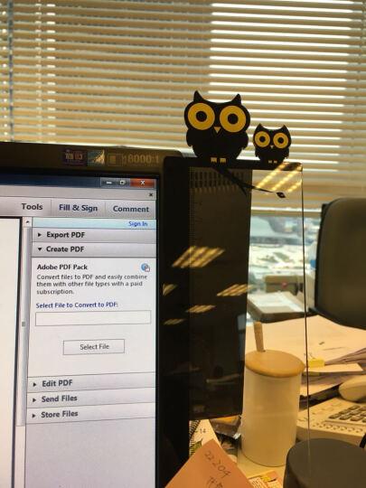 家英办公桌面可爱卡通电脑显示器屏幕透明留言板 亚克力便签贴板 猫头鹰 晒单图