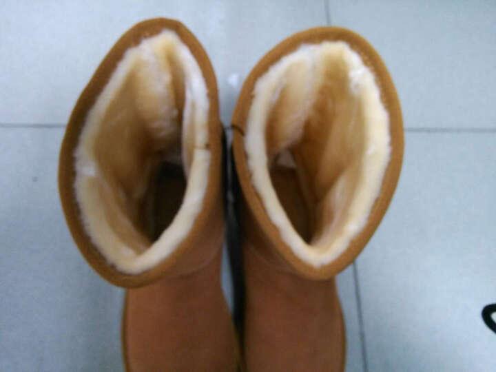 Qu&Gu 雪地靴女 中筒靴女靴冬季翻毛牛皮加绒保暖防滑平底休闲女士棉鞋 深蓝色 38 晒单图