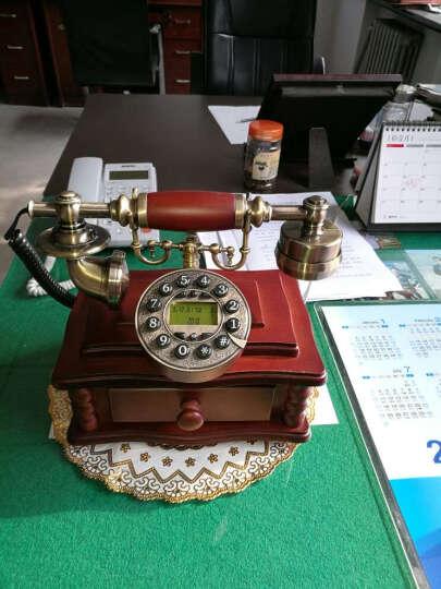 实木欧式仿古电话机复古时尚创意个性电话机家用固定有绳电话座机 背光免提版 晒单图