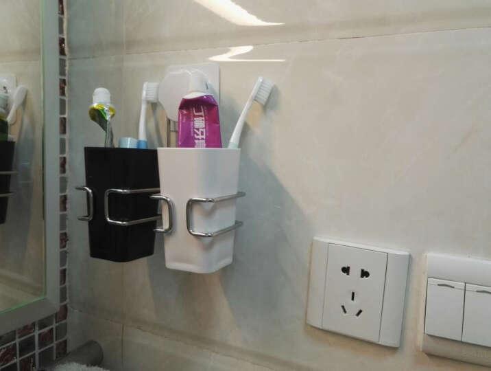 凯霸 吸盘式牙膏牙刷架 情侣刷牙杯洗漱套装 创意牙缸牙具用品 时尚卫浴洗漱套件 送漱口杯子 黑色杯+白色杯 晒单图