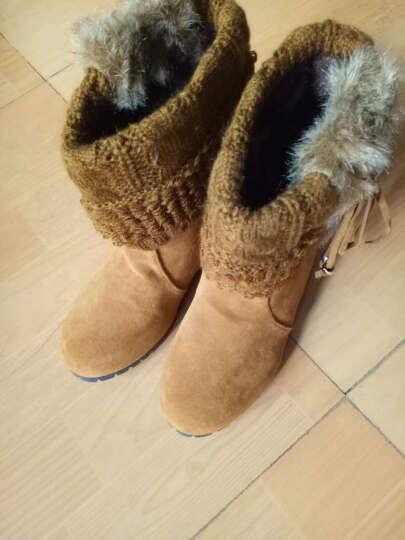 SUMZU女靴2016冬季新款内雪地靴短筒可爱毛线筒保暖棉鞋X4A211 卡其 37 晒单图
