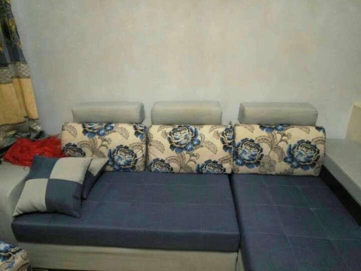 迪玛利亚 简约现代布艺沙发贵妃组合 中小户型客厅可拆洗沙发 浅灰+蔚蓝&麻布 双人+贵妃2.4M豪华版送地毯 晒单图