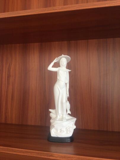 微美惠安女手工艺品艺术摆件装饰品工艺品会所客厅书房电视柜软装饰品德化白瓷摆设 惠女提鱼 晒单图