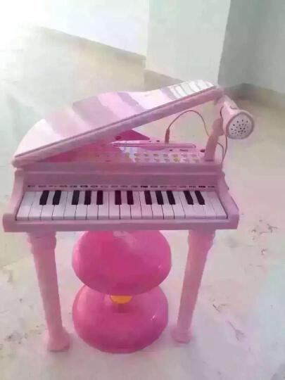 儿童电子琴音乐玩具女孩小钢琴带麦克风早教益智初学者2-6岁启蒙入门教程乐谱宝丽玩具 桌面版1504C粉(赠送充电池套装) 晒单图