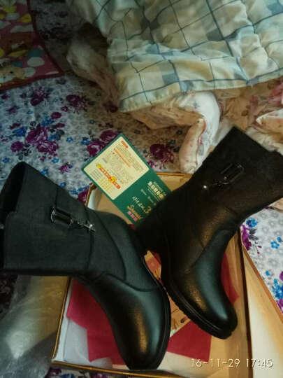 莎美茜女靴真皮马丁靴女士中跟粗跟加绒保暖棉鞋女靴妈妈鞋欧美风潮流中筒靴子女 黑色加绒 38 晒单图