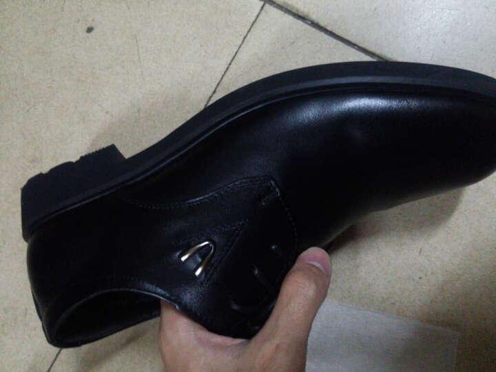 意利船长 男士皮鞋正装男士休闲鞋男鞋商务休闲皮鞋1663 S-1663黑色 39 晒单图