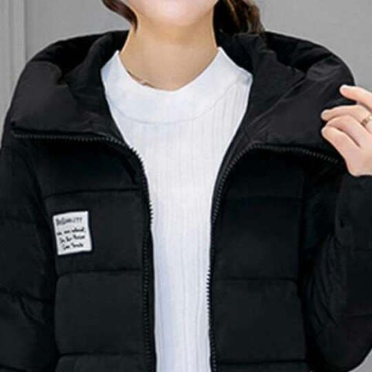 康蒂娅 2016冬装新款棉服女中长款大码修身韩版连帽外套棉衣棉服女 9827 黑色 M 晒单图