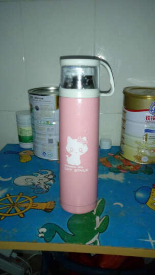 彩虹女孩 小学生优质不锈钢真空保温杯 儿童保温杯 猫猫杯水杯 粉红色500ml 粉红色 晒单图