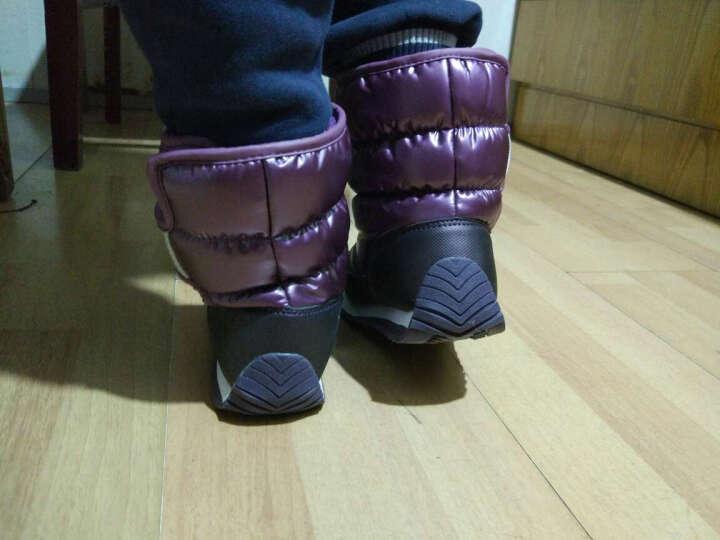 木木兔儿童鞋雪地靴棉鞋女童鞋男童中筒加绒加厚冬季保暖短靴子 2018新款防水防滑 宝蓝色 34码 适合21.1cm脚长 晒单图