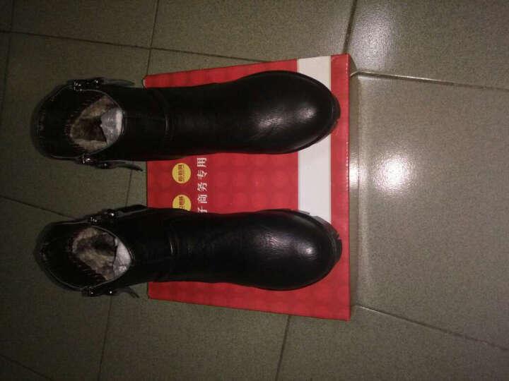 瑞蓓妮秋季新款女靴英伦马丁靴防水台圆头粗跟短靴侧拉链休闲女鞋子高跟低筒靴 棕色加绒款 38 晒单图