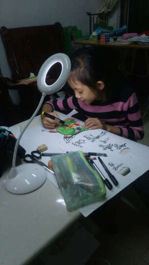 一米青品 LED护眼台灯卧室床头灯usb充电阅读灯 创意夹子调光无影灯学生儿童学习读书灯 天使圆无影学习台灯大容量电池 玫红色3W 晒单图