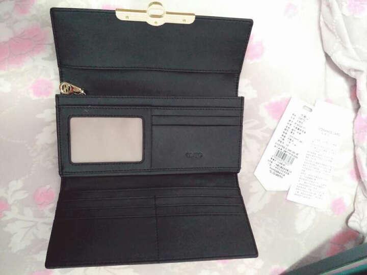 OMTO 长款女士钱包 欧美时尚大容量三折牛皮钱夹手拿包女包Q 黑色 晒单图