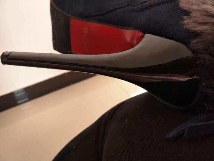 奥诗邦薇2017春秋冬新款雪地靴绒面绒毛性感夜店超高跟鞋细跟短靴女靴子 黑色 39 晒单图