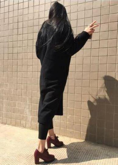 雅诗莱雅 2019新款单鞋 女韩版粗跟高跟鞋短靴时尚系带女鞋防水台保暖马丁短筒靴休闲鞋女 YS3307黑色 37 晒单图