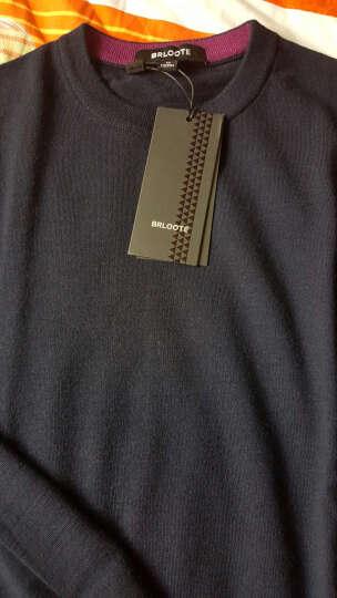 Brloote/巴鲁特针织衫男士圆领羊毛衫长袖毛衣纯色薄款套头打底衫新款春秋男装 藏青 175/96A 晒单图