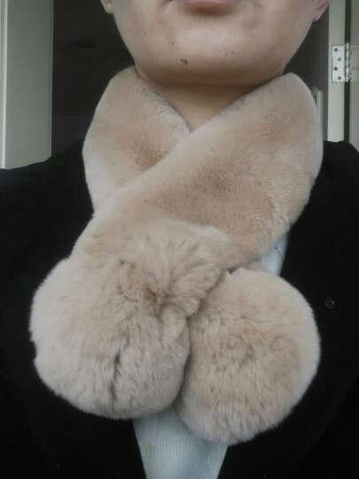 欧洛卡迪天鹅绒级整皮獭兔围韩版女士皮草围巾围脖冬季加厚双毛球磁铁百搭保暖款兔毛双管大毛球 卡其色 晒单图