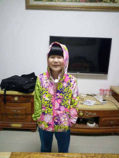 安迪派对2016秋季新款女童长袖外套大童休闲V领有帽印花拉链上衣 浅绿/粉红 150cm 晒单图