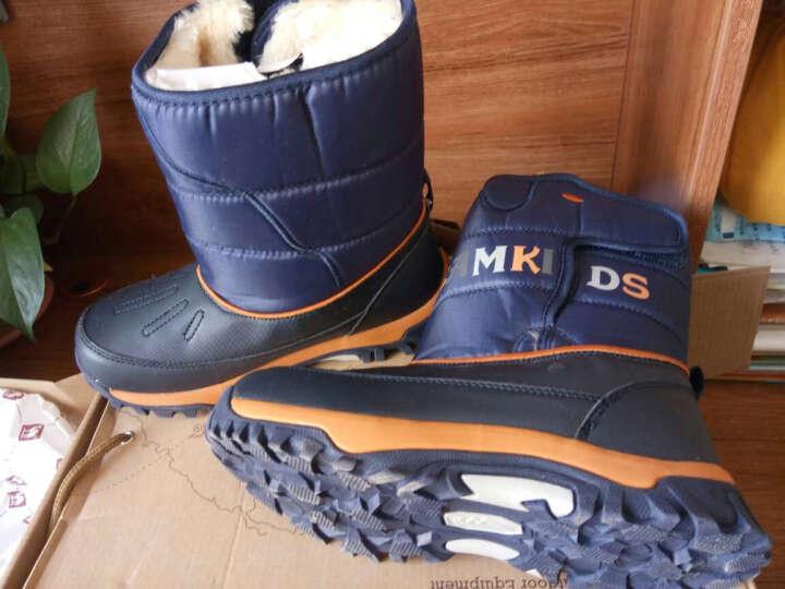 camkids垦牧男童鞋女童雪地靴儿童登山棉鞋户外保暖 樱桃红/果绿 32 晒单图