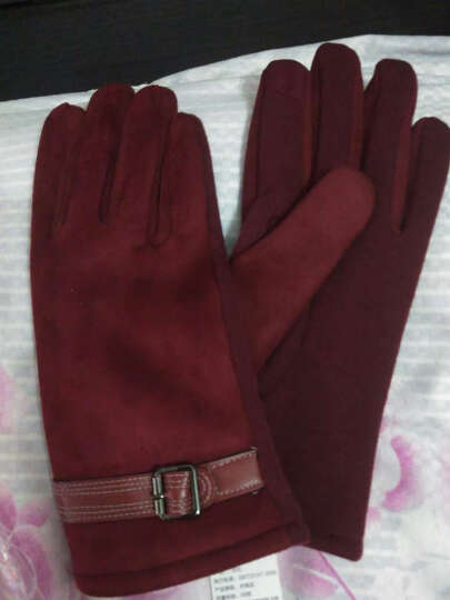 外滩故事触摸屏电容屏触摸 保暖时尚不倒毛手套女冬季新款 Ma-31酒红 晒单图