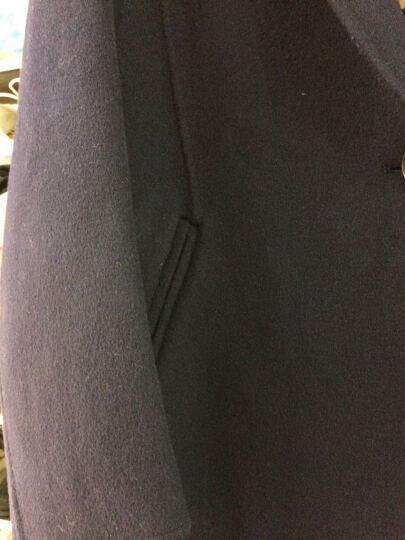 婉睿100%澳毛双面呢大衣秋季新款双排扣羊毛呢子毛呢外套女潮 黑夜蓝 2XL 晒单图