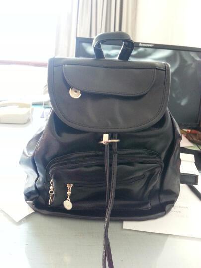 韩版双肩包女学院风潮女休闲中学生书包女士皮抽带旅行背包 236款黑色 晒单图