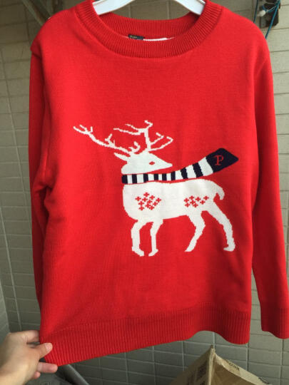 童装女童男童毛衣秋冬装加绒加厚上衣儿童打底衫内搭线衣毛线衫 加绒红色 150(适合130-140cm) 晒单图