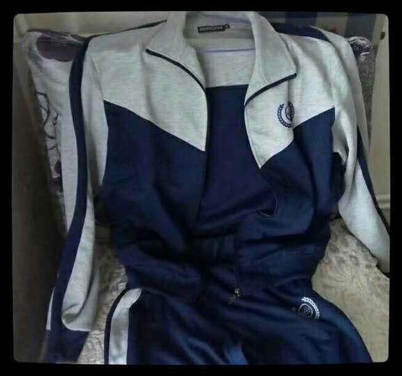 SBVA 休闲运动套装男女情侣长款大码套卫衣棉质跑步服两件套 深蓝-男款 L 晒单图