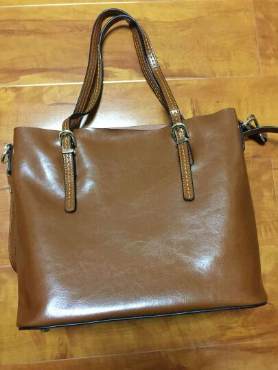 纳兰杜(Nalandu)2018新款单肩包女牛皮大包 休闲女包时尚购物袋 简约百搭 礼物 88935-棕色 晒单图
