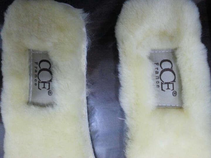 法国CCE冬季手工保暖羊毛鞋垫男女羊皮毛一体雪地靴加厚鞋垫QT005(加厚建议拍小一码) 浅白色 35 晒单图