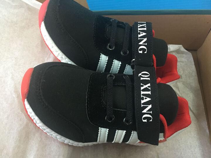 旗翔童鞋儿童运动鞋男女童秋冬新款加绒加棉鞋跑步鞋 大红色 31码 晒单图
