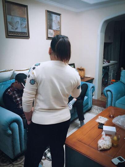 莲纯100%羊毛衫女秋冬新款时尚百搭圆领新款韩版宽松套头毛衣针织打底衫 藏青色 M 晒单图