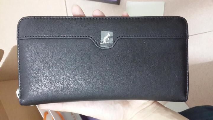 意大利L'ALPINA袋鼠 男士手包头层羊皮 商务手拿包真皮长款时尚手挽男包 礼盒 大容量 黑色B款 晒单图