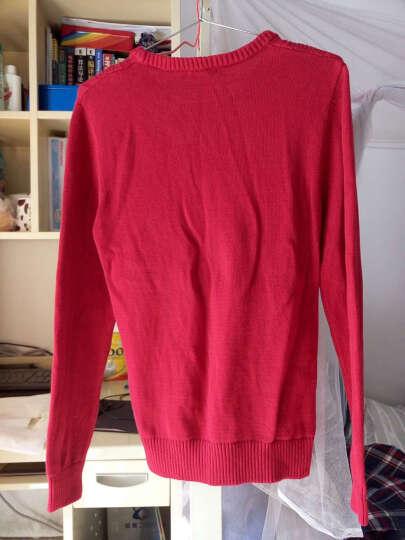 鸿星尔克(ERKE)男装圆领针织线衣男士时尚休闲长袖上衣 枣红 3XL 晒单图
