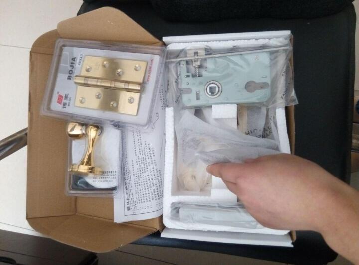 博家BOJIA静音室内门锁套装欧式卧室木门执手锁具 静音门锁+2片合页+门吸 晒单图
